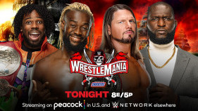 Affiche du Raw Tag Team Champion The New Day vs. AJ Styles & Omos à WrestleMania 37 (2021)