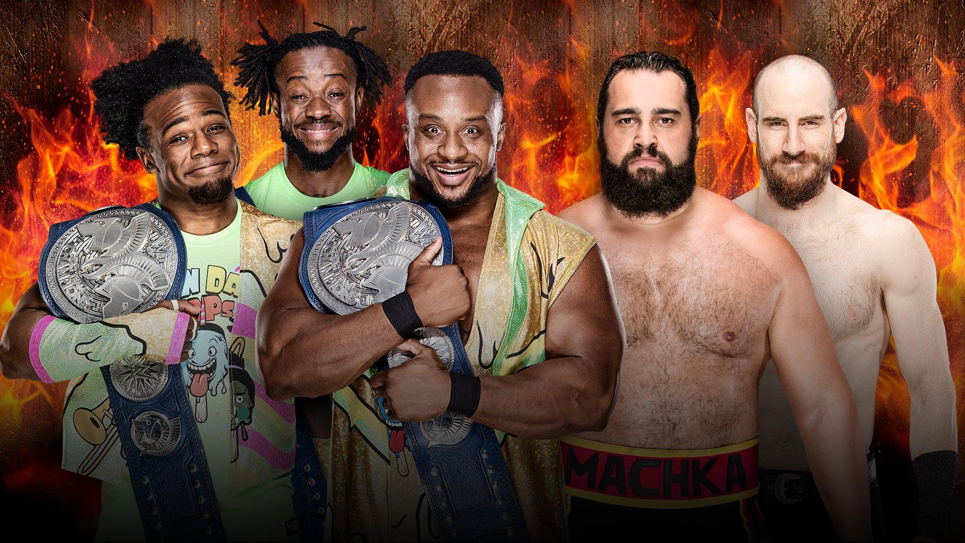 SmackDown Tag Team Champions The New Day vs Rusev et Aiden English