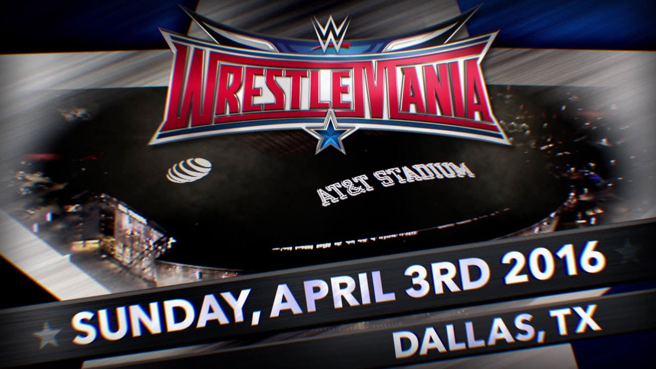 Logo WrestleMania 32 et photo du stade