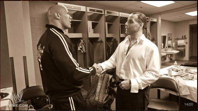 The Rock et shawn michael en coulisse